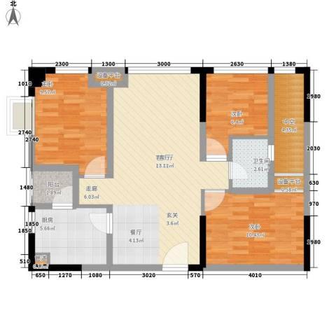 大有智慧广场3室1厅1卫1厨85.00㎡户型图
