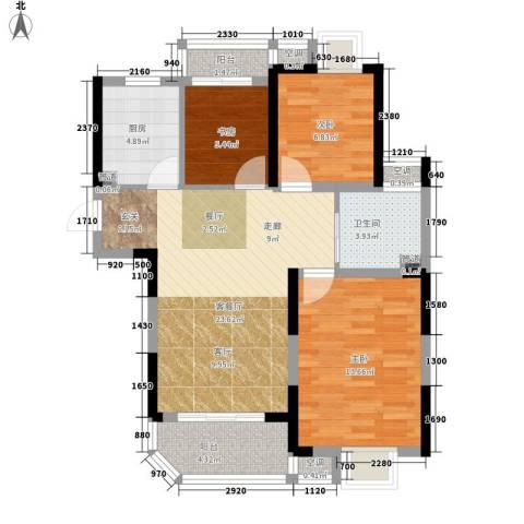华园四季3室1厅1卫1厨86.00㎡户型图