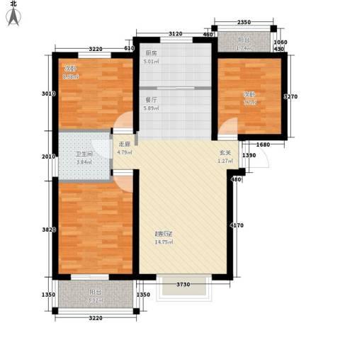 东方苑小区2室0厅1卫1厨78.00㎡户型图