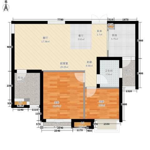 天启花园2室0厅1卫1厨86.00㎡户型图