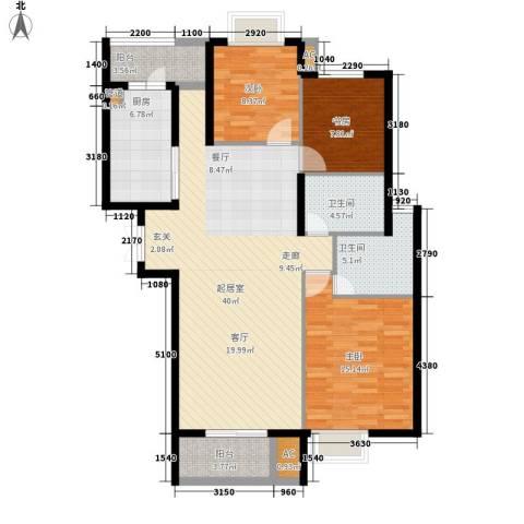 天启花园3室0厅2卫1厨125.00㎡户型图