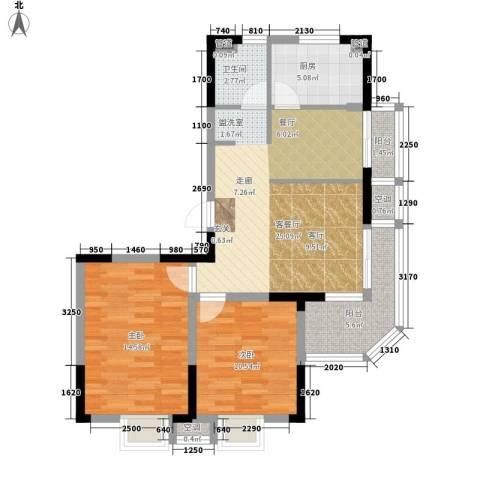华园四季2室1厅1卫1厨87.00㎡户型图