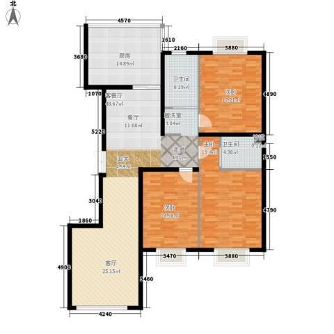 中央花园3室1厅2卫1厨142.00㎡户型图