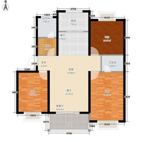 五一阳光尊园3室1厅2卫1厨141.00㎡户型图