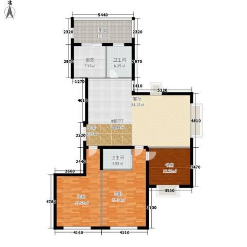 中央花园3室1厅2卫1厨147.00㎡户型图