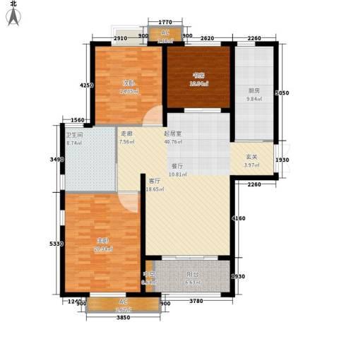 东方苑小区3室0厅1卫1厨130.00㎡户型图