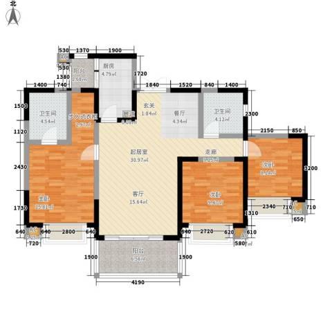锦城南府3室0厅2卫1厨123.00㎡户型图