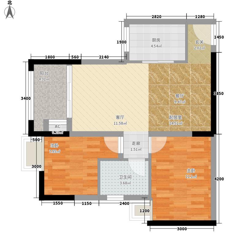 奥园康城62.03㎡F型3、8号房面积6203m户型