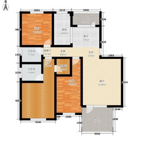 五一阳光尊园3室1厅2卫1厨135.00㎡户型图