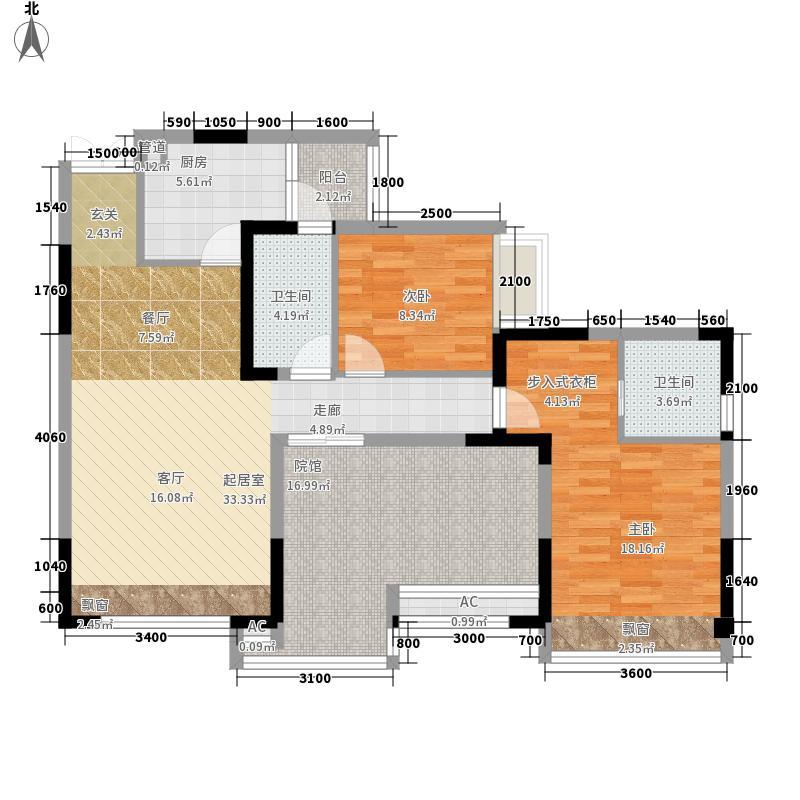 海悦蓝庭89.00㎡二期3号楼标准层面积8900m户型