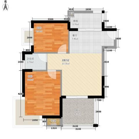 林苑小区2室0厅1卫1厨83.00㎡户型图