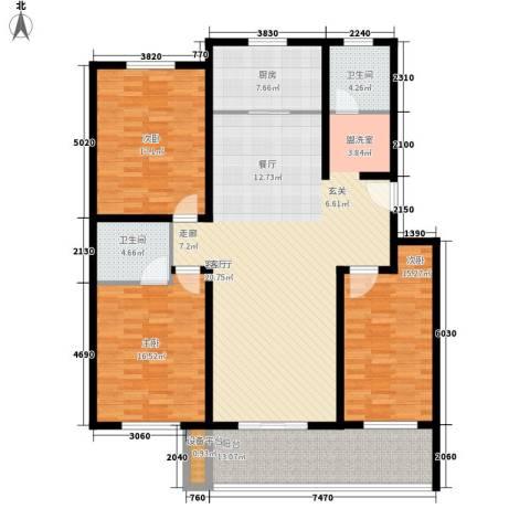 五一阳光尊园3室1厅2卫1厨147.00㎡户型图