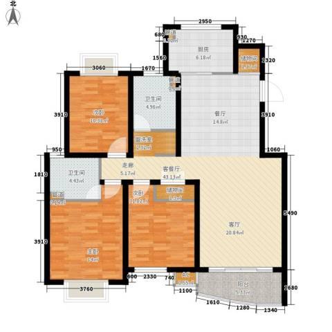 盘蠡新村3室1厅2卫1厨116.00㎡户型图