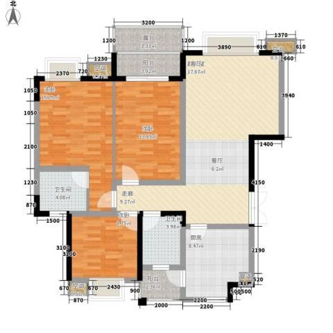 公园一号3室0厅2卫1厨124.00㎡户型图
