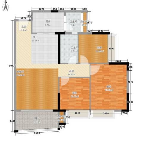 五一阳光尊园3室1厅2卫1厨145.00㎡户型图