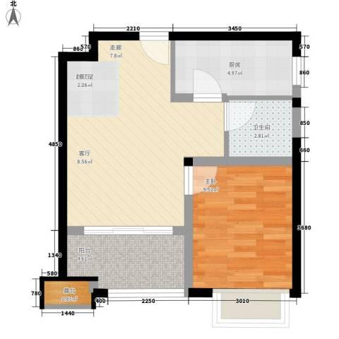 映月花园1室0厅1卫1厨47.00㎡户型图