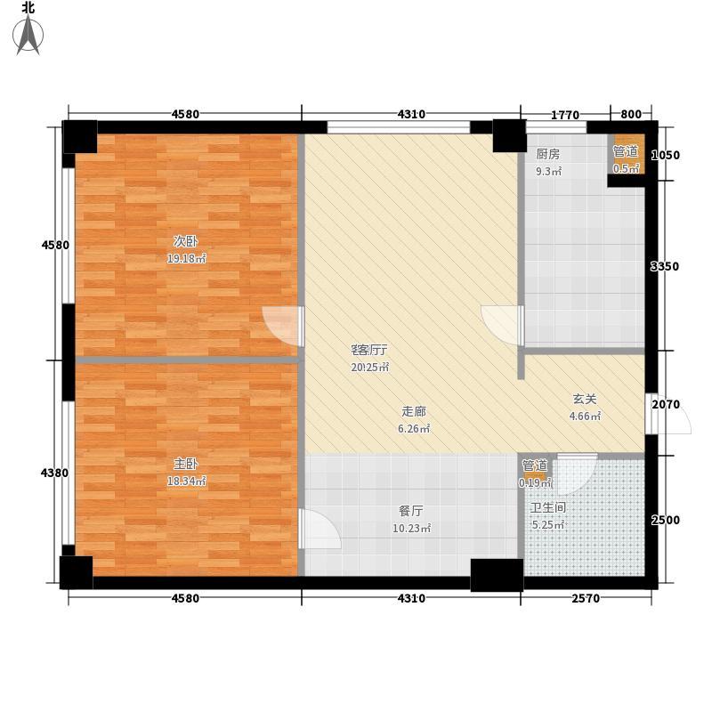 京隆国际公寓105.00㎡3-15层P户面积10500m户型