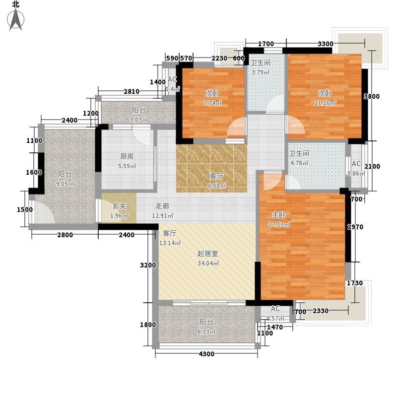奥园康城104.66㎡C型2、5号房面积10466m户型