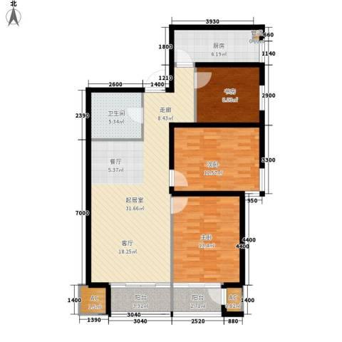 华远君城3室0厅1卫1厨108.00㎡户型图