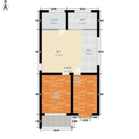 山海顺沁苑2室0厅1卫1厨80.00㎡户型图