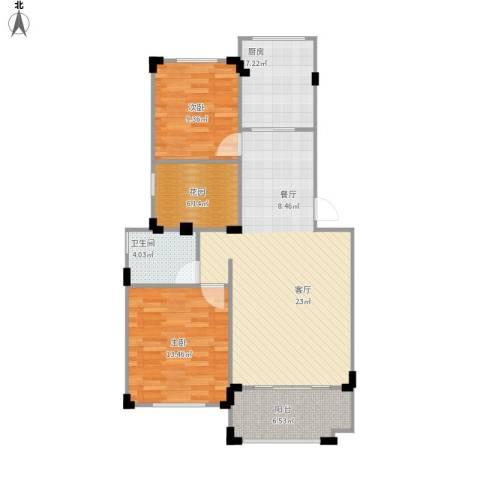 澳海澜庭2室1厅1卫1厨106.00㎡户型图