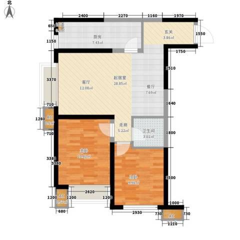 华远君城2室0厅1卫1厨85.00㎡户型图