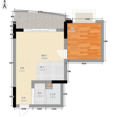 鸳鸯北湖郡1室1厅1卫1厨40.91㎡户型图