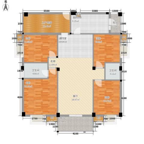 汉基花园4室0厅2卫1厨136.00㎡户型图