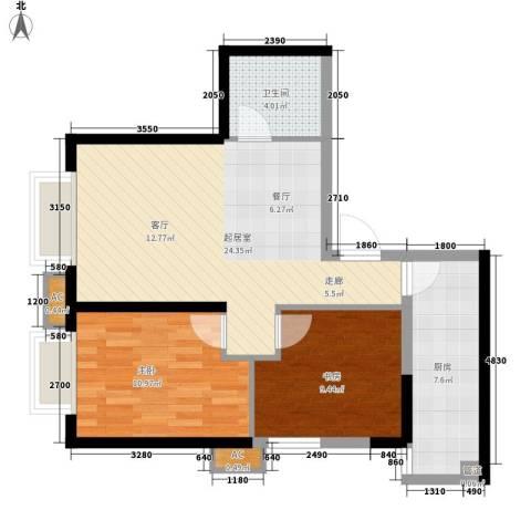 华远君城2室0厅1卫1厨77.00㎡户型图