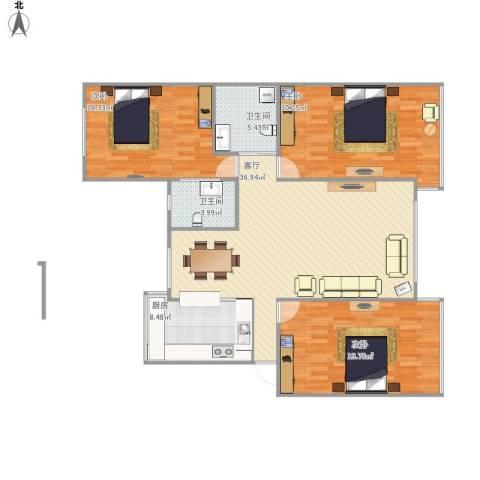 宏运・凤凰新城一期3室1厅2卫1厨148.00㎡户型图