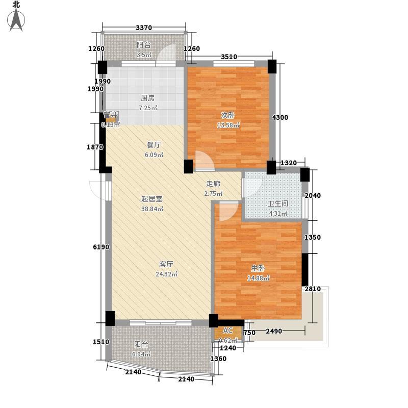 水印桃源91.74㎡2号楼E1面积9174m户型