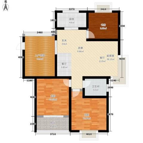 美岸青城幸福里3室0厅1卫1厨108.00㎡户型图