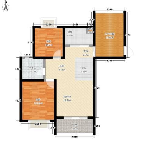 美岸青城幸福里2室0厅1卫1厨90.00㎡户型图