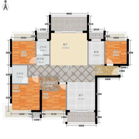 天天向上4室1厅2卫1厨158.00㎡户型图