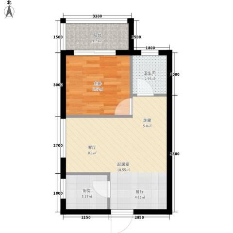 兰蒂斯城1室0厅1卫1厨53.00㎡户型图