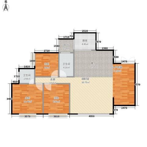 金益二村3室0厅2卫1厨100.00㎡户型图