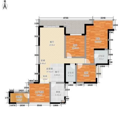 成都A区3室0厅2卫1厨151.00㎡户型图