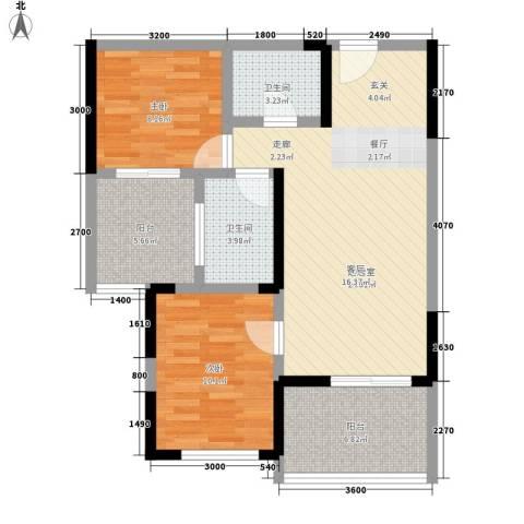 成都A区2室0厅2卫0厨76.00㎡户型图