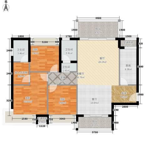 天天向上3室1厅2卫1厨142.00㎡户型图