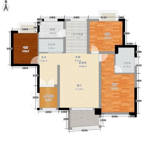 华融琴海湾3室0厅2卫1厨120.00㎡户型图