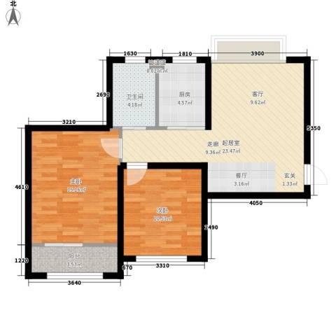 蓝星万象城2室0厅1卫1厨91.00㎡户型图