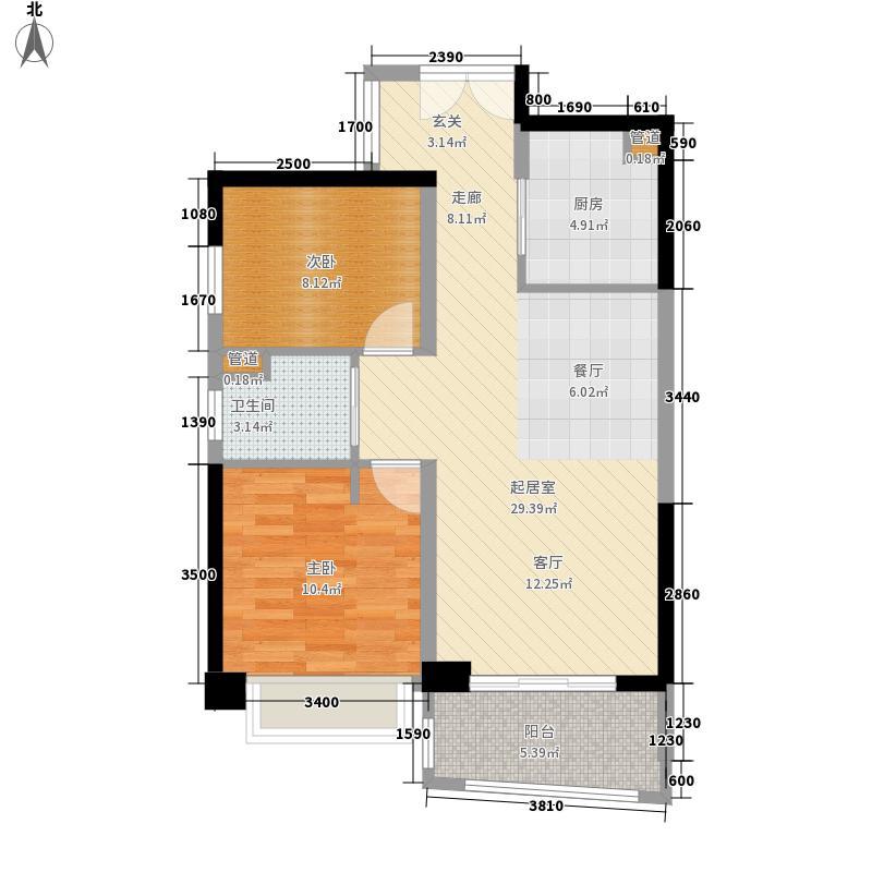 华融琴海湾80.00㎡户型2室2厅