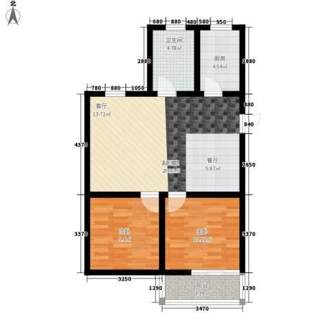 官渎花园2室0厅1卫1厨68.00㎡户型图