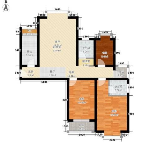 广顺现代城3室0厅2卫1厨122.00㎡户型图