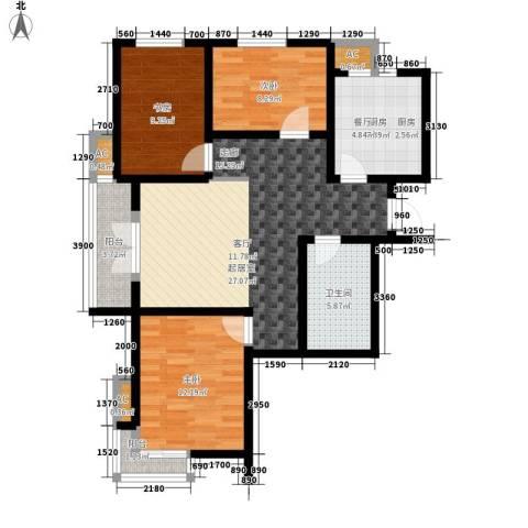 汉滨城市花园3室0厅1卫1厨106.00㎡户型图