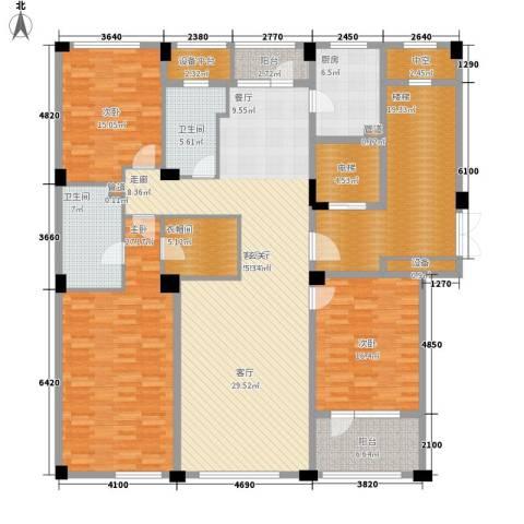 绿城慈溪玫瑰园3室1厅2卫1厨178.00㎡户型图
