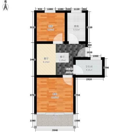 塘坊苑2室0厅1卫1厨57.00㎡户型图