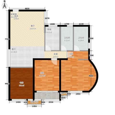 三箭如意苑3室0厅2卫1厨142.00㎡户型图