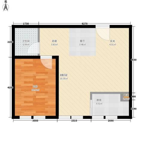 海河大道瑞海名苑1室0厅1卫1厨62.00㎡户型图