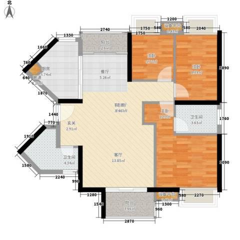 富力盈丰大厦3室1厅2卫1厨110.00㎡户型图